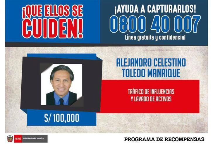 An international arrest warrant issued by Peru's Interior Ministry, offering 100,000 Peruvian soles ($31,000) for information on the whereabouts of former president Alejandro Toledo, is seen in Lima, Peru. Picture provided to Reuters on February 10, 2017. Peruvian Police/Handout via Reuters