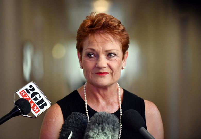 Australia's One Nation party leader Senator Pauline Hanson is pictured at a press conference at Parliament House in Canberra, Australia, February 13, 2017. AAP/Mick Tsikas/via REUTERS