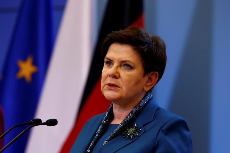 FILE PHOTO: Polish Prime minister Beata Szydlo speaks during a press conference with German Chancellor Angela Merkel in Warsaw, Poland February 7, 2017. REUTERS/Kacper Pempel/Files