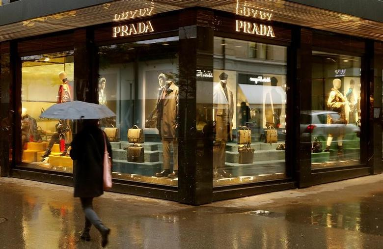 Italian luxury fashion house Prada's logo is seen at a store in Zurich, Switzerland October 26, 2016.   REUTERS/Arnd Wiegmann/Files