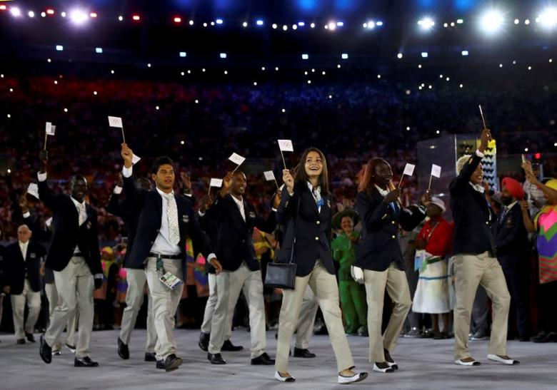 2016 Rio Olympics - Opening Ceremony - Maracana - Rio de Janeiro, Brazil - 05/08/2016. The Refugee Olympic Athletes' team arrives for the opening ceremony. REUTERS/Kai Pfaffenbach/File Photo