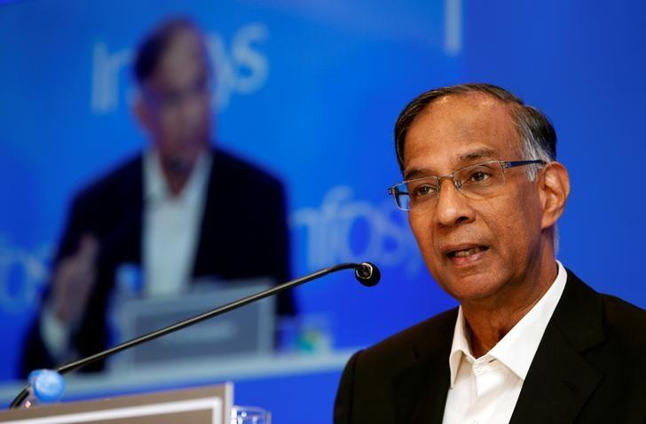 Infosys non-executive chairman R. Seshasayee speaks during a news conference in Mumbai, India, February 13, 2017. REUTERS/Danish Siddiqui
