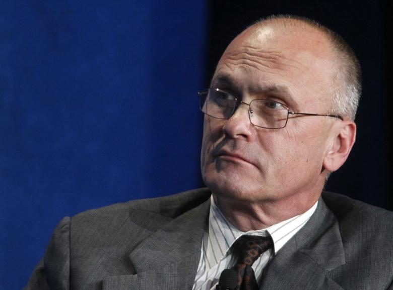Andrew Puzder, CEO of CKE Restaurants, takes part in a panel discussion titled ''Understanding the Post-Recession Consumer'' at the Milken Institute Global Conference in Beverly Hills, California  April 30, 2012.  REUTERS/Fred Prouser/File Photo