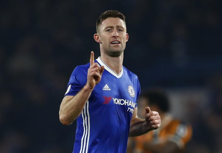 Football Soccer Britain - Chelsea v Hull City - Premier League - Stamford Bridge - 22/1/17 Chelsea's Gary Cahill celebrates scoring their second goal Reuters / Eddie Keogh Livepic