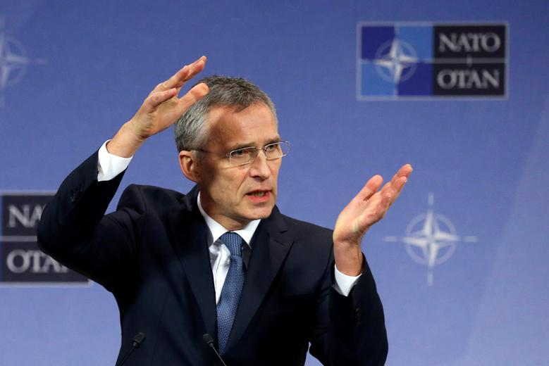 NATO Secretary-General Jens Stoltenberg addresses a news conference ahead of a NATO defence ministers meeting at the Alliance headquarters in Brussels, Belgium, February 14, 2017. REUTERS/Francois Lenoir