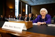 """Federal Reserve Chair Janet Yellen prepares to speak before a Senate Banking, Housing, and Urban Affairs Committee hearing on the """"Semiannual Monetary Policy Report to the Congress"""" on Capitol Hill in Washington, U.S., February 14, 2017.      REUTERS/Joshua Roberts"""