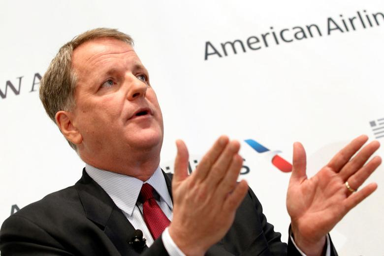 FILE PHOTO --  U.S. Airways CEO Doug Parker announces the planned merger of AMR Corp, the parent of American Airlines, with U.S. Airways during a news conference at Dallas-Ft Worth International Airport February 14, 2013. REUTERS/Mike Stone/File Photo