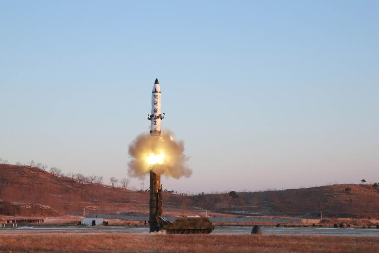 A view of the test-fire of Pukguksong-2 guided by North Korean leader Kim Jong Un on the spot, in this undated photo released by North Korea's Korean Central News Agency (KCNA) in Pyongyang. KCNA/Handout via Reuters