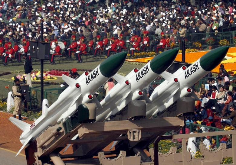 India's ''Akash'' missiles, mounted on a truck, are displayed during the Republic Day parade in New Delhi January 26, 2007. REUTERS/B Mathur (INDIA)