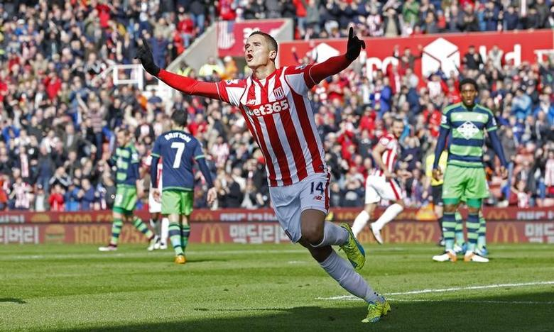 Football Soccer - Stoke City v Swansea City  - Barclays Premier League - The Britannia Stadium - 2/4/16Ibrahim Afellay celebrates after scoring the first goal for StokeMandatory Credit: Action Images / Craig BroughLivepic