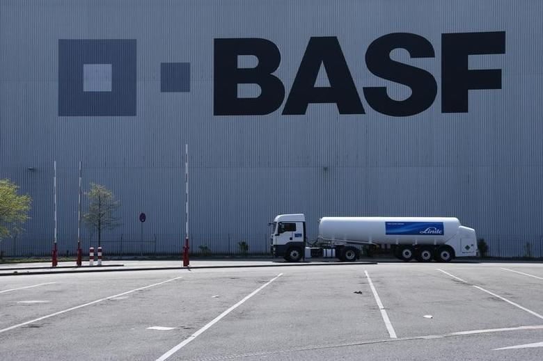 A truck drives past a warehouse of German chemical company BASF in Ludwigshafen, April 23, 2015.  REUTERS/Ralph Orlowski