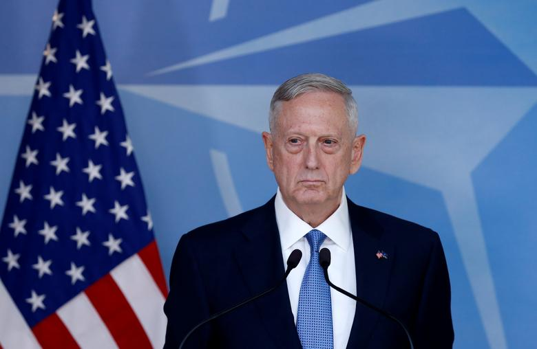 U.S. Defence Secretary Jim Mattis briefs the media during a NATO defence ministers meeting at the Alliance's headquarters in Brussels, Belgium February 15, 2017. REUTERS/Francois Lenoir