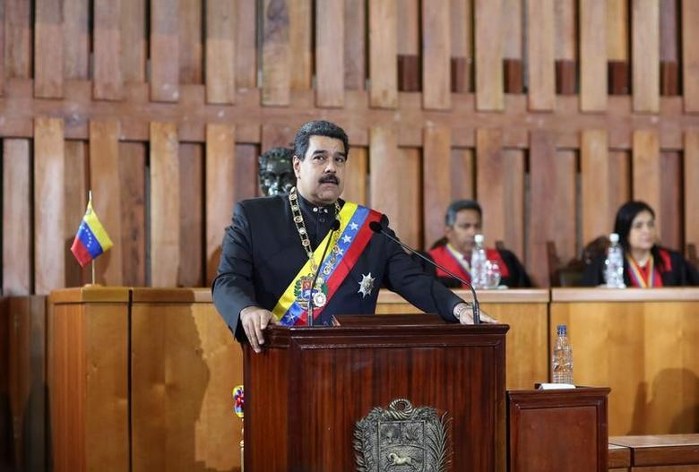 Venezuela's President Nicolas Maduro speaks during a ceremony to mark the opening of the judicial year at the Supreme Court of Justice (TSJ) in Caracas, Venezuela February 7, 2017. Miraflores Palace/Handout via REUTERS