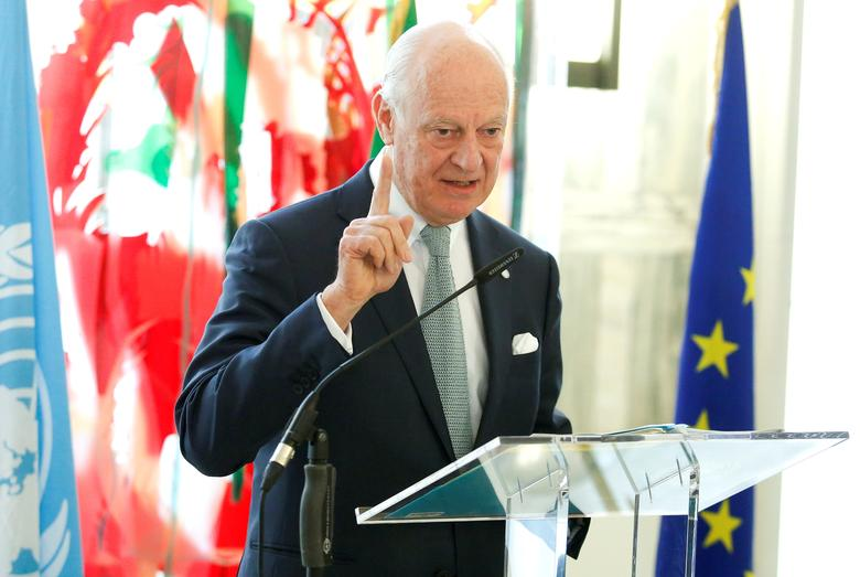 UN Special Envoy for Syria Staffan de Mistura talks during a news conference in Rome, Italy February 15, 2017. REUTERS/Remo Casilli