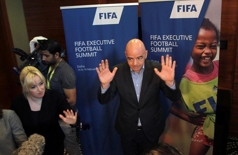 FIFA President Gianni Infantino gestures to the media in Doha, Qatar February 16, 2017. REUTERS/Naseem Zeitoon - RTSYY41