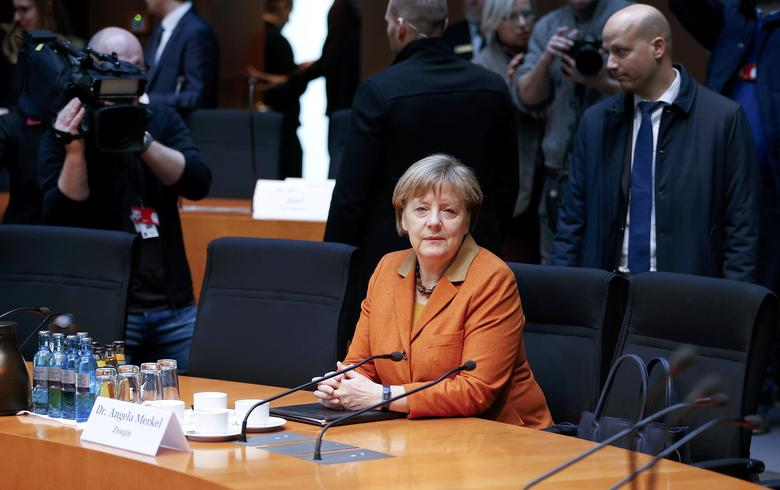 German Chancellor Angela Merkel sits in the witness stand of a parliamentary inquiry in Berlin investigating the NSA's activities in Germany, February 16, 2017.        REUTERS/Axel Schmidt