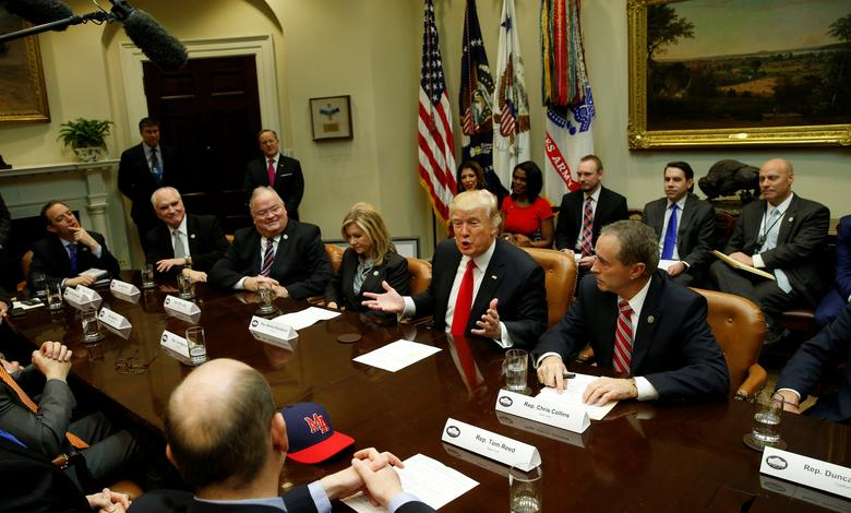 U.S. President Donald Trump holds a meeting with House Republicans at the White House in Washington, U.S. February 16, 2017.  REUTERS/Kevin Lamarque