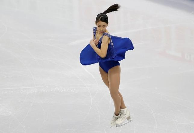 2月16日、来年の平昌冬季五輪のテスト大会を兼ねたフィギュアスケートの四大陸選手権は韓国の江陵で女子ショートプログラム(SP)を行い、三原舞依は66.51点で4位につけた(2017年 ロイター/Kim Hong-Ji)