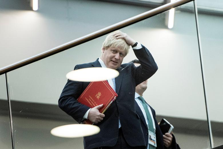 Britain's Foreign Secretary Boris Johnson walks to a meeting of G-20 foreign ministers at the World Conference Center February 16, 2017 in Bonn, Germany. REUTERS/Brendan Smialowski/Pool