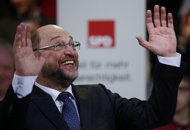 Former European Parliament president Martin Schulz reacts after his speech at a meeting of the Social Democratic Party (SPD) at their party headquarters in Berlin, Germany, January 29, 2017, were Schulz was officially appointed SPD party leader.      REUTERS/Hannibal Hanschke