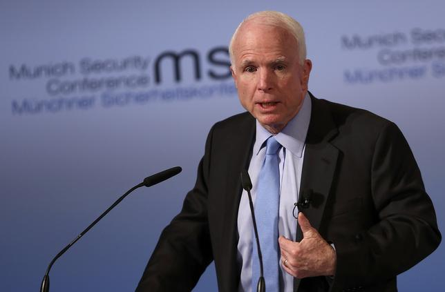 U.S. Senator John McCain speaks at the opening of the 53rd Munich Security Conference in Munich, Germany, February 17, 2017.  REUTERS/Michael Dalder
