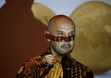 Freeport Indonesia spokesman Riza Pratama speaks during a news conference in Jakarta, Indonesia, February 20, 2017. REUTERS/Beawiharta