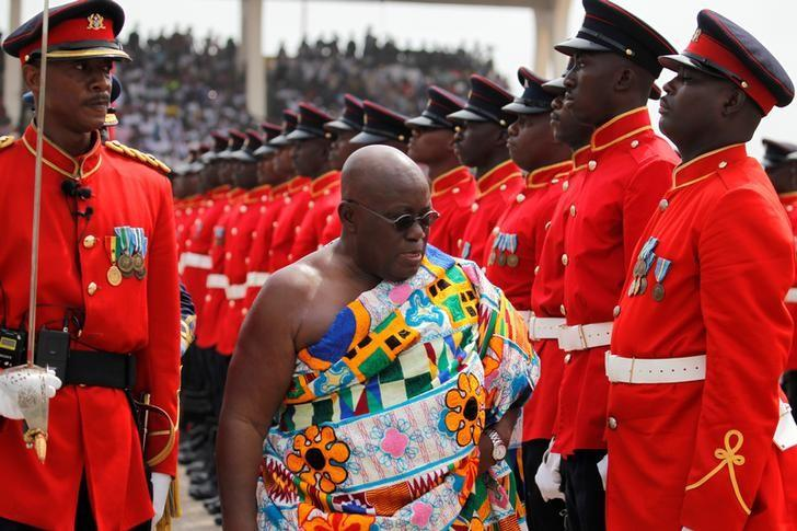 Ghana's new President Nana Akufo-Addo inspects a military parade after the swearing in ceremony at Independence Square in Accra, Ghana  January 7, 2017. REUTERS/Luc Gnago