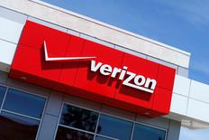 FILE PHOTO: The Verizon logo is seen on one of their retail stores in San Diego, California, U.S. April 21, 2016.  REUTERS/Mike Blake/File Photo
