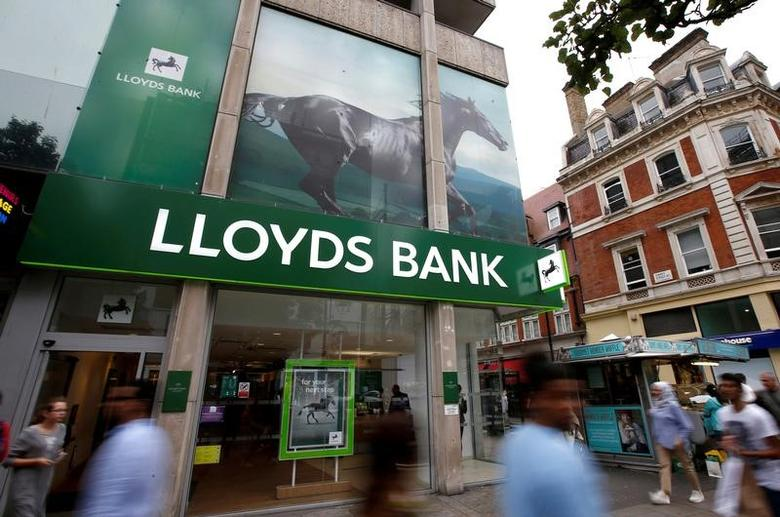 FILE PHOTO - People walk past a branch of Lloyds Bank on Oxford Street in London, Britain July 28, 2016.  REUTERS/Peter Nicholls/File Photo