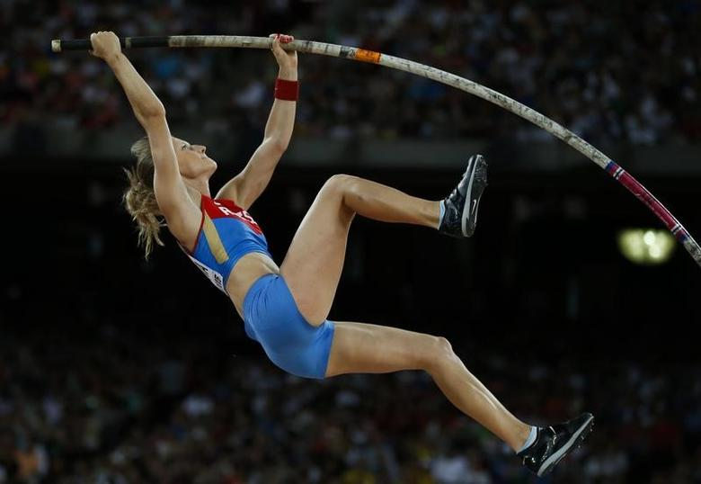 Anzhelika Sidorova of Russia competes in the women's pole vault final during the 15th IAAF World Championships at the National Stadium in Beijing, China, August 26, 2015.  REUTERS/Phil Noble