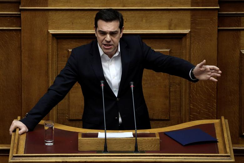 Greek Prime Minister Alexis Tsipras answers a question on the results of the latest Eurogroup during the Prime Minister's Question Time at the parliament in Athens, Greece, February 24, 2017. REUTERS/Alkis Konstantinidis