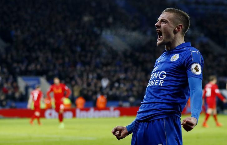 Britain Football Soccer - Leicester City v Liverpool - Premier League - King Power Stadium - 27/2/17 Leicester City's Jamie Vardy celebrates scoring their third goal  Action Images via Reuters / Jason Cairnduff Livepic