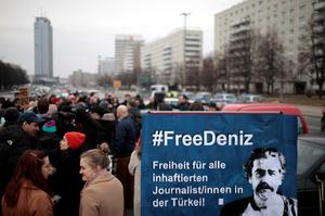 Protestors demonstrate, calling for the freedom of German-Turkish...
