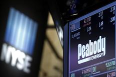 FILE PHOTO - The ticker and stock information for Peabody Energy is displayed at the post where the stock is traded on the floor of the New York Stock Exchange (NYSE) in New York, U.S. on March 16, 2016. REUTERS/Brendan McDermid/File Photo