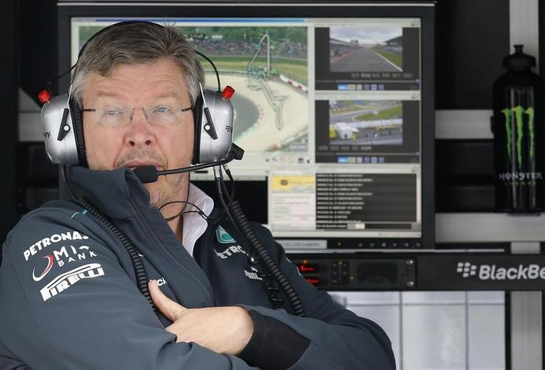 FILE PHOTO: Mercedes Formula One team principal Ross Brawn looks on during the first practice session of the German F1 Grand Prix at the Nuerburgring racing circuit, July 5, 2013.    REUTERS/Kai Pfaffenbach/File Photo