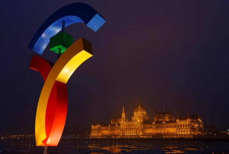 The Hungarian Parliament is seen with the Olympic logo at a promotional spot as the Hungarian capital bids for the 2024 Olympic Games, in central Budapest, Hungary,  January 31, 2017. REUTERS/Laszlo Balogh/Files