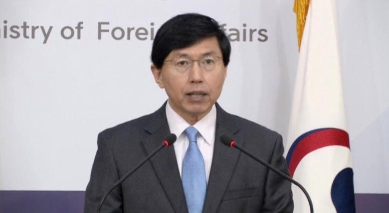 South Korea's foreign ministry spokesman Cho June-hyuck speaks during a news conference on North Korea's missile launch, in Seoul, South Korea in this still image taken from video, February 12, 2017. REUTERS/Reuters TV