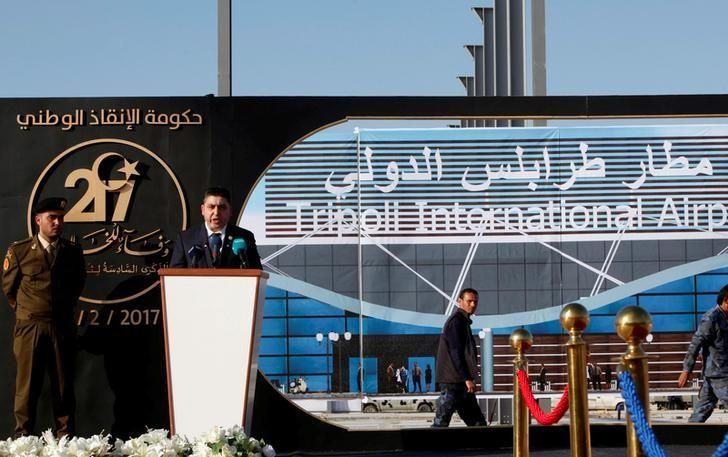 Prime Minister of Libya's National Salvation government Khalifa Ghwell speaks during an opening ceremony of Tripoli International Airport, in Tripoli, Libya February 16, 2017. REUTERS/Ismail Zitouny/Files