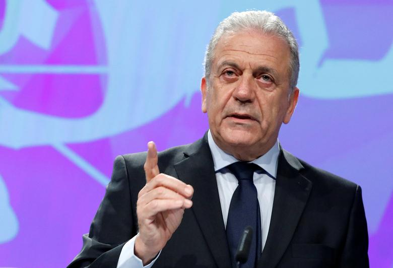 European Commissioner for Migration and Home Affairs Dimitris Avramopoulos addresses a news conference at the EU Commission headquarters in Brussels, Belgium, March 2,  2017. REUTERS/Yves Herman