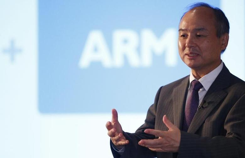 CEO of the SoftBank Group Masayoshi Son speaks at a new conference in London, Britain July 18, 2016. REUTERS/Neil Hall