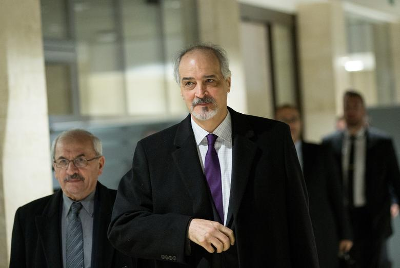 Syrian Ambassador to the United Nations and head of the government delegation Bashar al-Jaafari (front) arrives for a meeting of Intra-Syria peace talks UN Special Envoy for Syria Staffan de Mistura  at Palais des Nations in Geneva, Switzerland February 28, 2017. REUTERS/Xu Jinquan/Pool