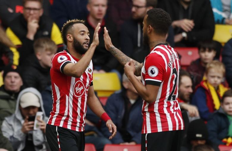 Britain Soccer Football - Watford v Southampton - Premier League - Vicarage Road - 4/3/17 Southampton's Nathan Redmond celebrates scoring their second goal with Southampton's Ryan Bertrand Action Images via Reuters / John Sibley Livepic