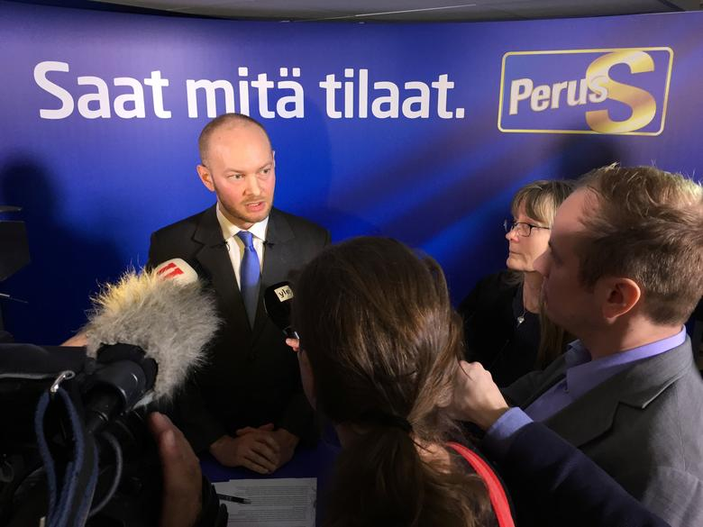 Finland's co-ruling Finns party politician Sampo Terho speaks during a news conference in Helsinki, Finland March 6, 2017 REUTERS/Tuomas Forsell