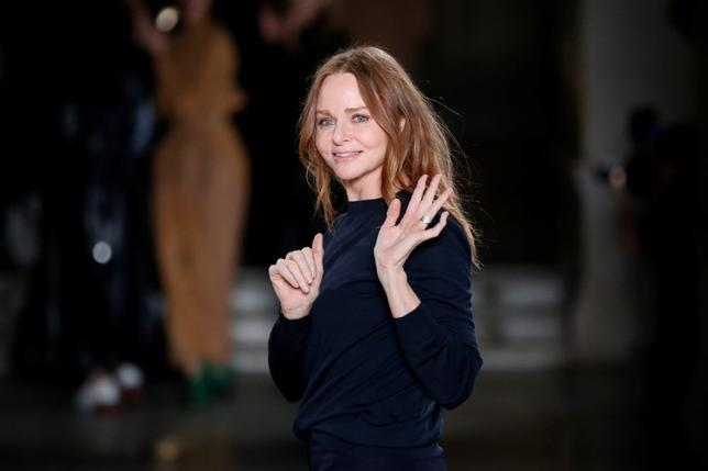 British designer Stella McCartney appears at the end of her Fall/Winter 2017-2018 women's ready-to-wear collection show during the Paris Fashion Week, in Paris, France March 6, 2017. REUTERS/Benoit Tessier/Files