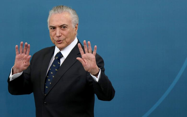Brazil's President Michel Temer gestures during a ceremony at the Planalto Palace in Brasilia, Brazil, March 7, 2017. REUTERS/Adriano Machado