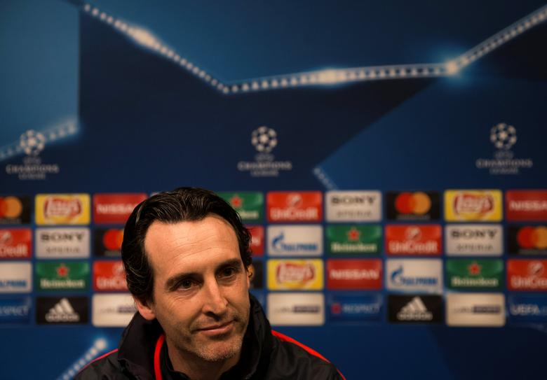 Football Soccer - Paris St Germain news conference - UEFA Champions League - Camp Nou stadium, Barcelona, Spain - 7/3/17 - Paris St Germain's coach Unai Emery attends news conference. REUTERS/Sergio Perez