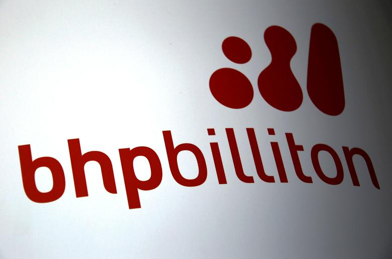 FILE PHOTO:  A logo for mining company BHP Billiton is seen outside the Perth Convention Centre during their annual general meeting in Perth, Australia, November 19, 2015.   REUTERS/David Gray/File Photo