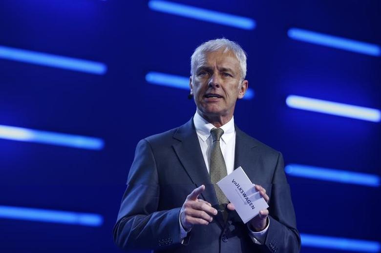 Volkswagen CEO Matthias Mueller speaks during Volkswagen event ahead of the 87th International Motor Show at Palexpo in Geneva, Switzerland, March 6, 2017. REUTERS/Arnd Wiegmann