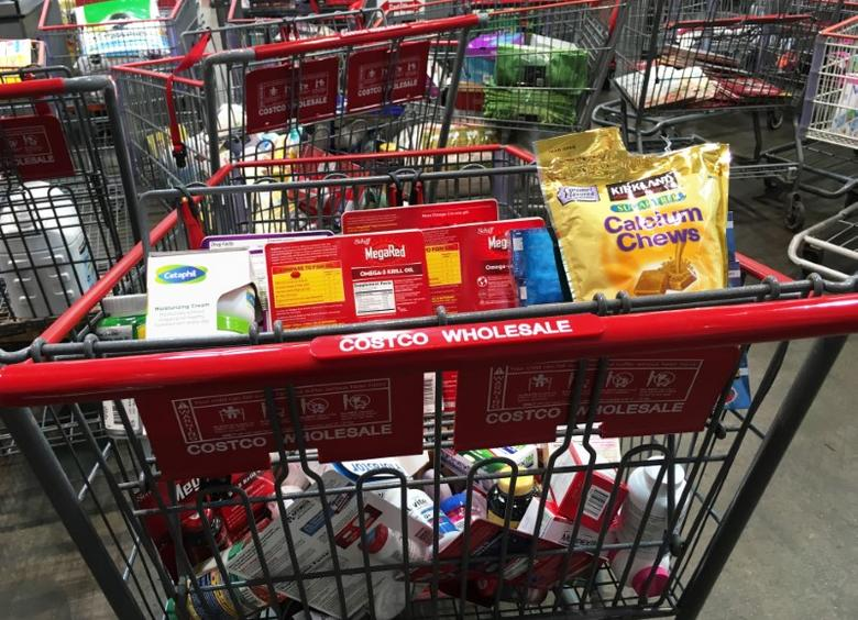 A shopping cart is seen inside a Costco Wholesale warehouse club in Westbury, New York, U.S., May 23, 2016.  REUTERS/Shannon Stapleton
