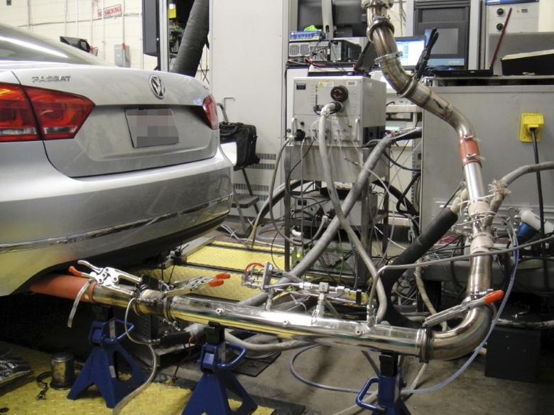 A Volkswagen Passat diesel vehicle that is fitted with research instruments is shown in this West Virginia University photo released to Reuters on November 4, 2015.  West Virginia University/Handout via Reuters